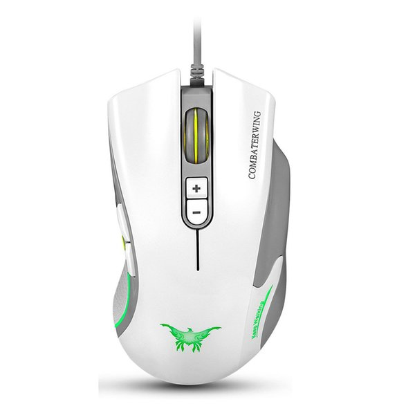 Combaterwing CW10 4800 DPI Wired Gaming Mouse Mice 7 Buttons Design 6 Breathing LED Colors Changing High Precision for Gamer PC