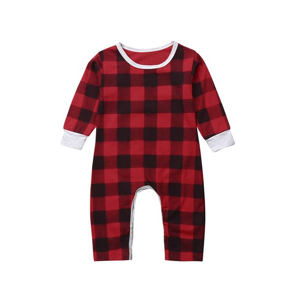 Toddler Xmas Kids Baby Girls Boys Romper Autumn Long Sleeve Santa Rompers Red Plaid Boy Girl Rompers Christmas Cotton Clothes