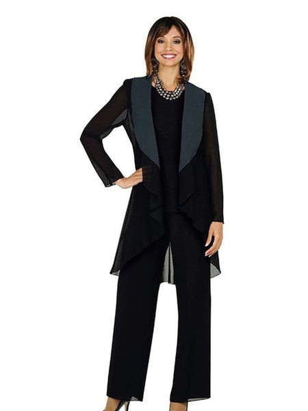 Black Chiffon Mother of the Bride Suits Plus Size Cheap Three Pieces Mother of Bride Groom Pant Suit for Wedding Pant Suit