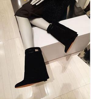 New Black blue green Solid Color Shark Lock Suede Wedge Boots Runway Height Increasing Fold Over Roman Ankle Boot Women size 42