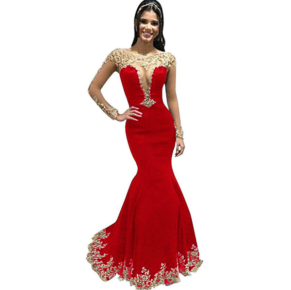Womens Gold Lace Appliques Illusion Mermaid Prom Dresses Long Sleeve Sexy Formal Evening Gown mermaid dress vestidos elegantes Party dresses