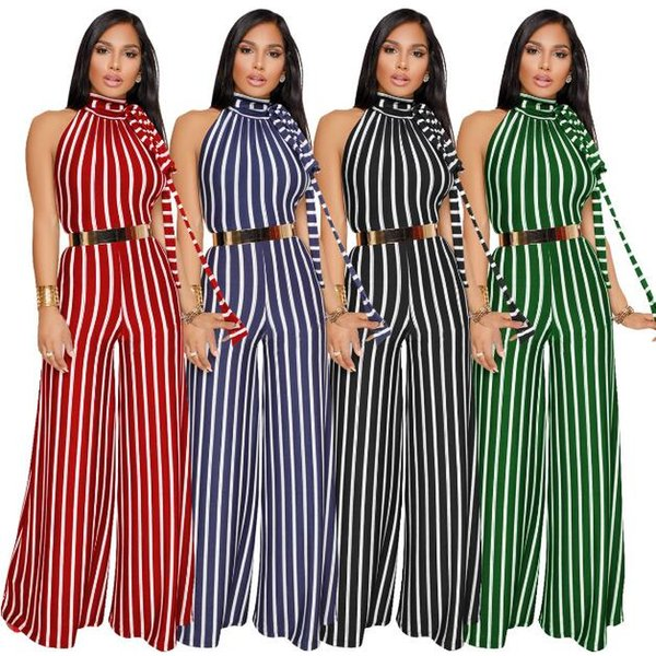 New European And American Style Sexy striped lace bare back wide leg pants Jumpsuits Fashion Rompers Wide-leg Trousers