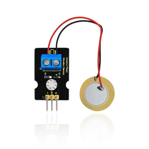 Keyestudio Ceramic Piezo Vibration Sensor Module Board for used with Arduino dedicated sensor shield, and analog port can perceive weak vibr