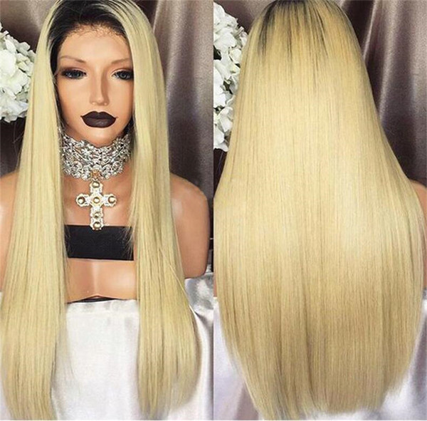 Brazilian Ombre Silky Straight Glueless Full Lace Human Hair Wigs 1B 613 Honey Blonde Two Tone Lace Front Wigs 130 Density Bleached Knots