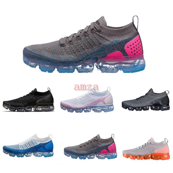430cfc4911b9 2018 Chaussures vapormax 2.0 Flagship Shoes men womens new white Black grey  blue pink knitting trainers
