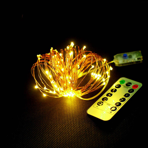remote controller 8 mode 33ft led string 10m 100led 16ft 5m 50led 5v usb plug fairy string lights indoor outdoor christmas wedding free ship