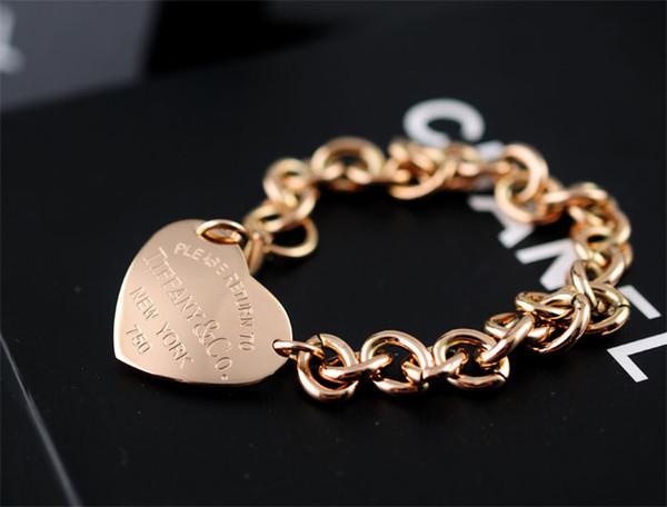 High Celebrity design Silverware Gold Chain bracelet Women Letter Heart-shaped Clover Bracelets Jewelry With dust bag Box