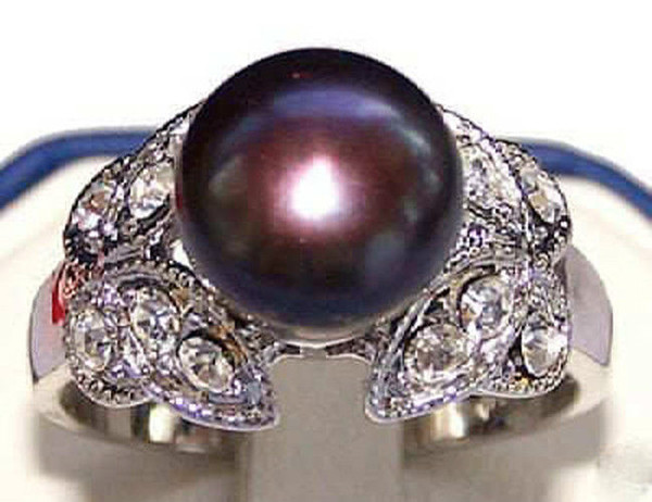 9mm Noblest Natural Black Akoya Cultured Pearl Butterfly Ring Size:7 8 9