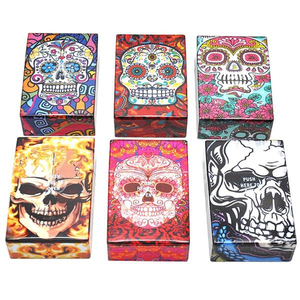 최신 다채로운 인간적인 해골 두개골 담배 상자 95MM 플라스틱 저장 상자 고품질 독점적 인 디자인 자동 개통