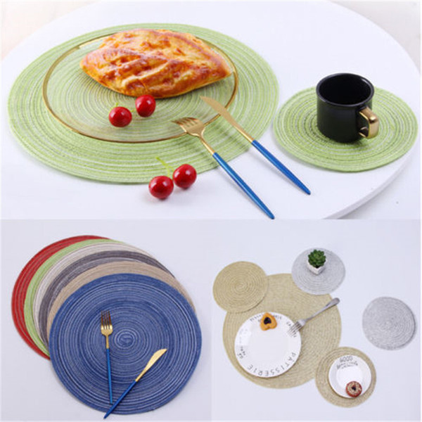 UK 18/36 cm Round Woven Fabric Placemat Table Setting Place Mats Dining Room kitchen accessories