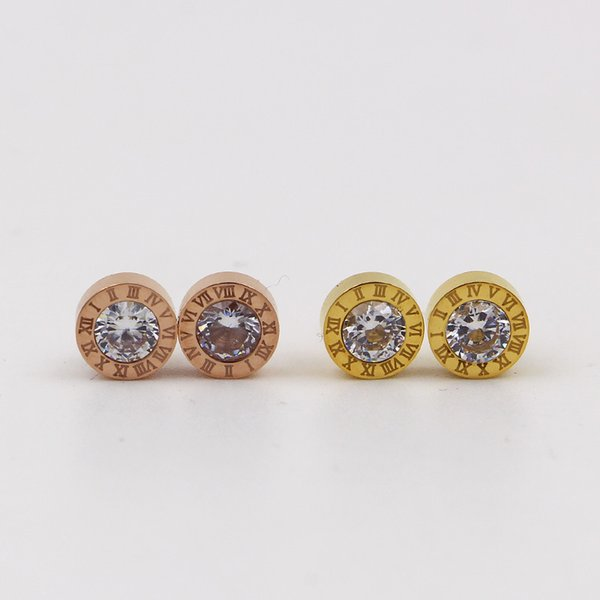 Fashion 316L Titanium Steel Plated Rose Gold Roman numerals Stud Earrings for Women's Valentine's Day Gifts CZ Stud Earrings Jewelry
