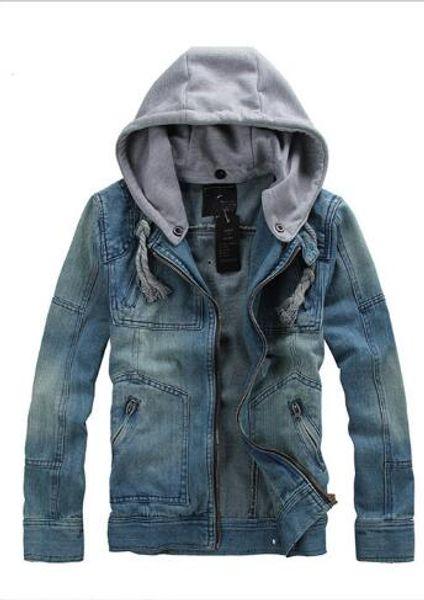 Мода мужская джинсовая куртка с длинным рукавом съемная шляпа мыть старинные мужская джинсовая куртка мужская куртка размер M-5XL
