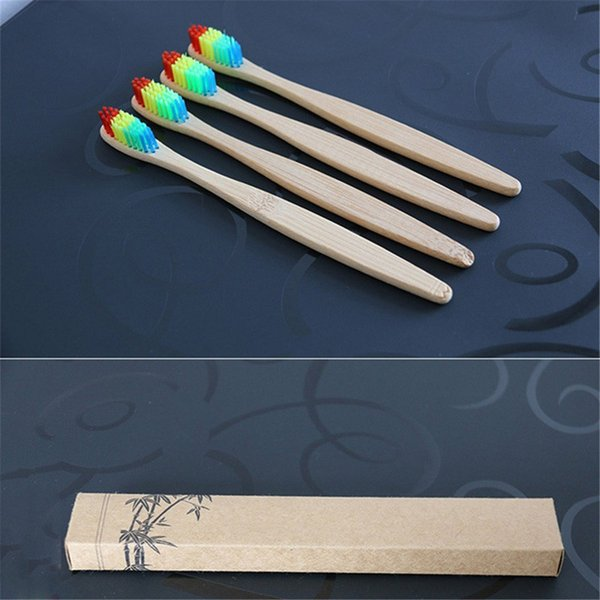 Bamboo Handle Toothbrush Whitening Rainbow Colorful Bristles head Environment-friendly Oral Care Bamboo Toothbrush high quality Soft Bristl