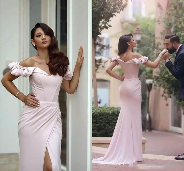 Elegant Off Shoulder Evening Gowns Back Zipper Red Carpet Gowns Front Split Custom Made Ruffle Formal Occasion Gowns 2018 Beautiful