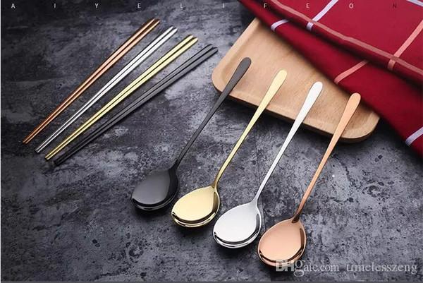 Koreanischer Nahrungsmittelgrad 304 Edelstahl-Löffel feste Essstäbchen langen Griff Kaffeelöffel Küche Werkzeug Essstäbchen Löffel Set Geschenk