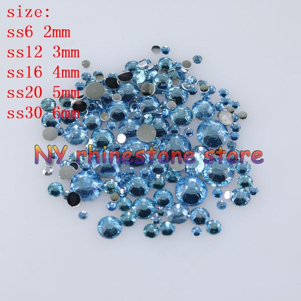 top popular 1000-10000pcs bag 2-6mm Light blue Resin Crystal Rhinestones FlatBack Super Glitter Nail Art Wedding Decoration Applique Non HotFix 21 2021