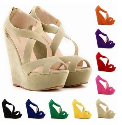blue beige yellow black red pink color size 35-42 high heel platform wedge heel women shoes ladies sandals 469