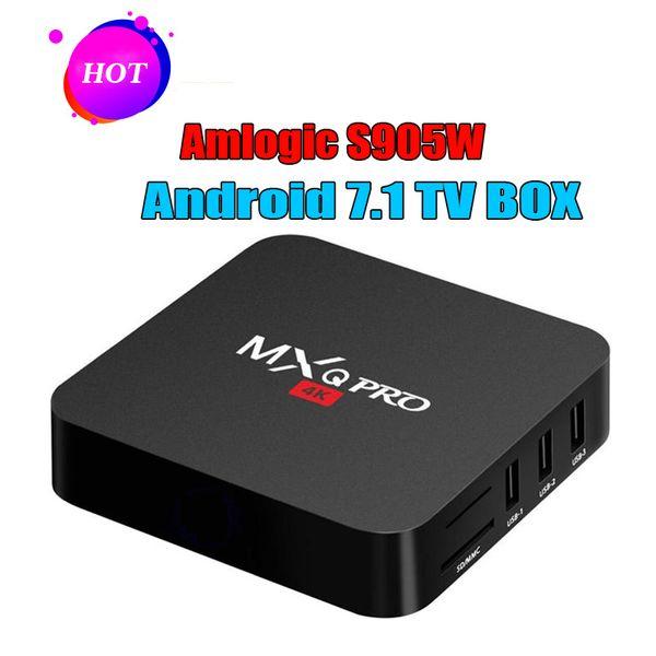 Akıllı TV Media Player MXQ Pro S905W TV KUTUSU Android 7.1 TV Kutuları 4 K Hakiki Amlogic MXQ PRO 4 K 1 GB / 8 GB WiFi Lan İnternet Google oyun kutusu