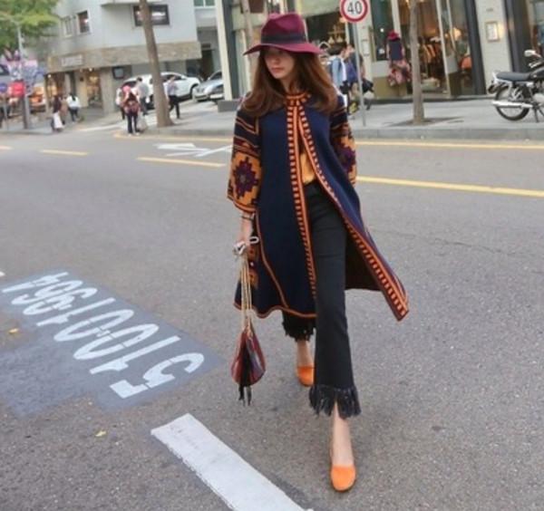Retro Ethnic Womens Printed Casual Long Cardigan Coats Ethnic BOHO Long Jacket