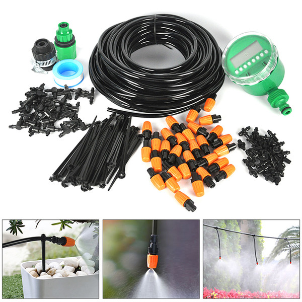 irrigation system 25m Automatic Water Timer Valve Smart Controller Garden Watering DIY Micro Drip Irrigation System With Adjustable Dripper