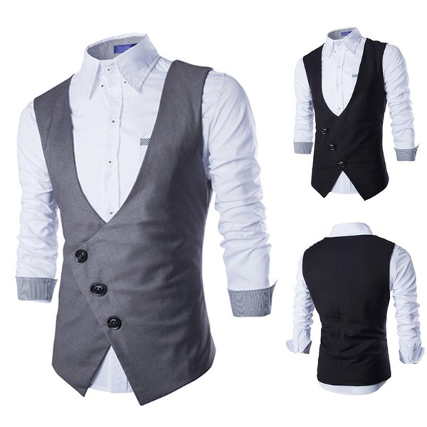 Men Suit Vest Formal Business Dress V-neck Tuxedo Waistcoat Suit Vest Black Grey Men W730