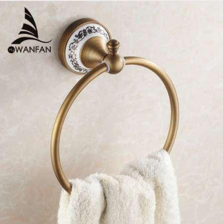 Towel Rings Wall Mounted Towel Holder Towel Ring Solid Brass Construction Antique Bronze Finish Bathroom Accessories HJ-1808