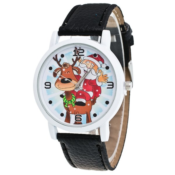 Female Clock Montre Femme Christmas Quartz Watch Lady Glass Mirror Watch Santa Claus Deer Pattern Leather Strap