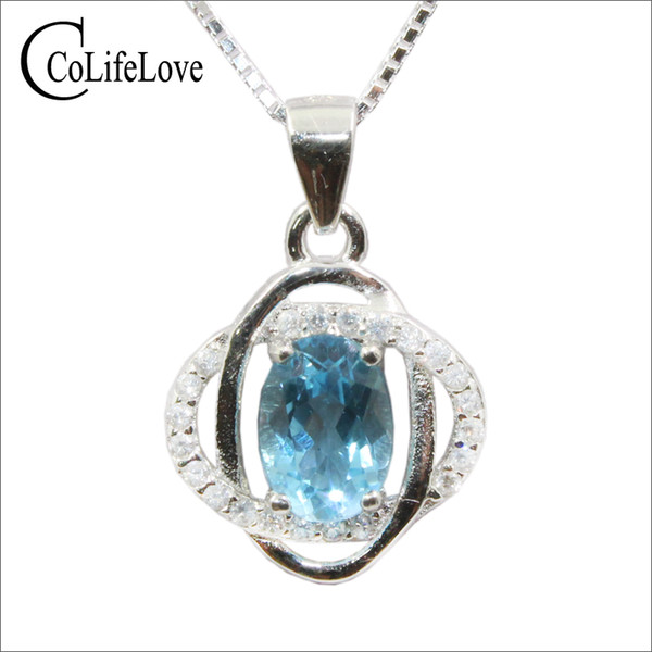 Elegant topaz silver pendant for party 5 mm*7 mm natural light blue topaz pendant solid 925 silver fine jewelry for woman