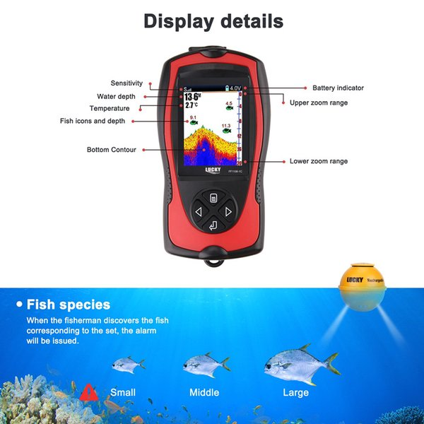 Lucky Fish Finder Waterproof For Ice And Kayak Fishing With