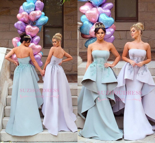 Sage Lilac Strapless Mermaid Long Bridesmaid Dresses with Detachable Overskirt Lace Embroidery Maid Of Honor Gowns Wedding Party Wear