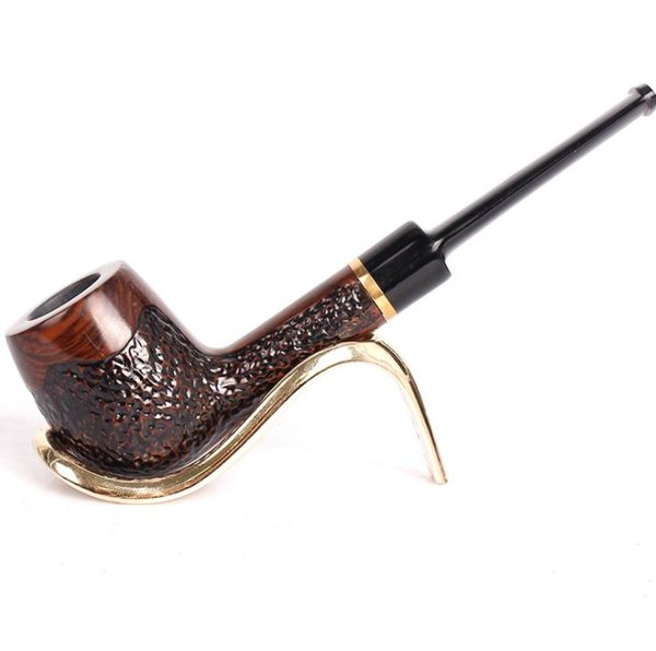 Creative carving, flat mouth, straight type pipe, ebony, ebony carving hammer, bucket, solid wood and ring, and can be dismantled and filter