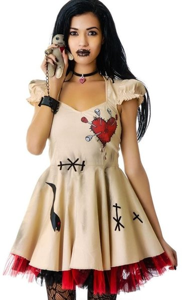 Fashion Women Girls Halloween Costume Voodoo Doll Costumes Witch Doctor Cosplay for Adults&Child Fancy Dress sexy