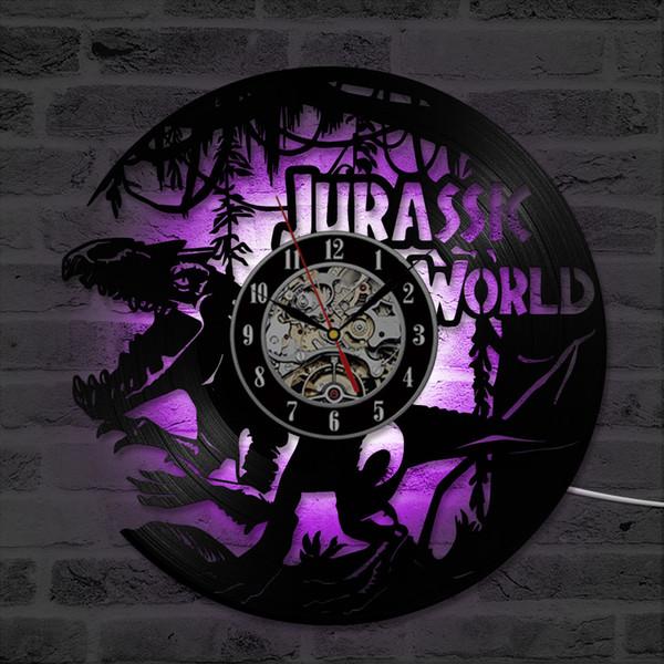 Jurassic World Theme Vinyl CD Rekord Uhr Kreative Hängende Uhr Klassische Handgemachte Wohnkultur Antike LED Wand