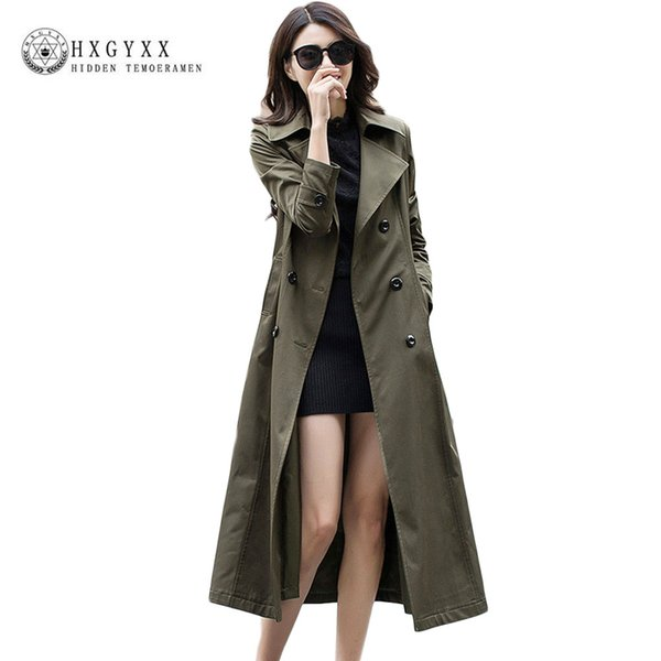 2018 Autumn Women Maxi Long Trech European Style Long Sleeve Slim Casual Trench Coat Pure Collar Double Breasted Outerwear OK075