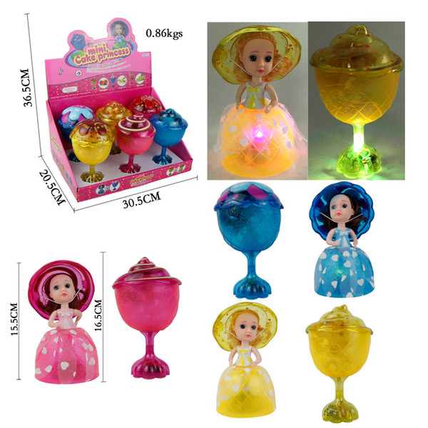Music Luminescent Goblet Type Cupcake Princess Deformable doll Cake Girl Scented Cake Princess Magical Transform Scented Girls Toys