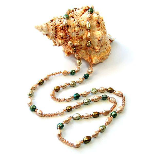 Горячие продать ручной завязывают 120 см Глод стекло Кристалл естественный цвет пресноводные барокко жемчужина длинный свитер цепи ожерелье ювелирные изделия