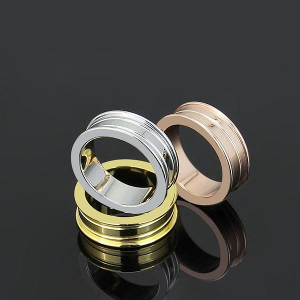 Schwarz / Weiß / Rosa Schmale Keramik Ringe, Gelbgold / Rose Gold / Platin Überzogene Edelstahl Frauen / Männer Modeschmuck / Engagement liebe