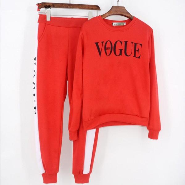 Autumn Winter 2 Piece Set Women Vogue Letters Printed Sweatshirt +Pants Suit Tracksuits Long Sleeve Sportswear Outfit