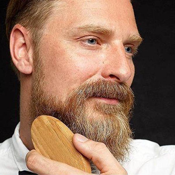 Pratik Domuzu Saç Kıl Sakal Bıyık Fırçası Askeri Sert Yuvarlak Ahşap Saplı Anti-statik Şeftali Tarak Erkekler için Kuaförlük aracı