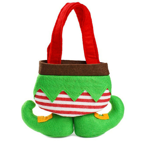 Christmas Elf Candy Bag Woolen Fabric Pocket Bag Xmas Decorations Children Cute Elf Pants Candy Storage Bags Party Favor Ornament New