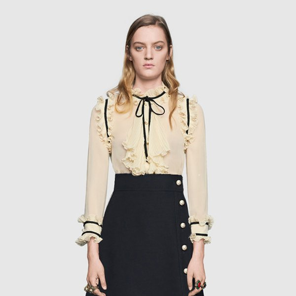 99d724c267075 Brand Designer Women Luxury Flounced Blouse 2018 Autumn Fashion Style Stand  Collar Pearl Buttons Long Sleeve Transpartent Shirts Tops