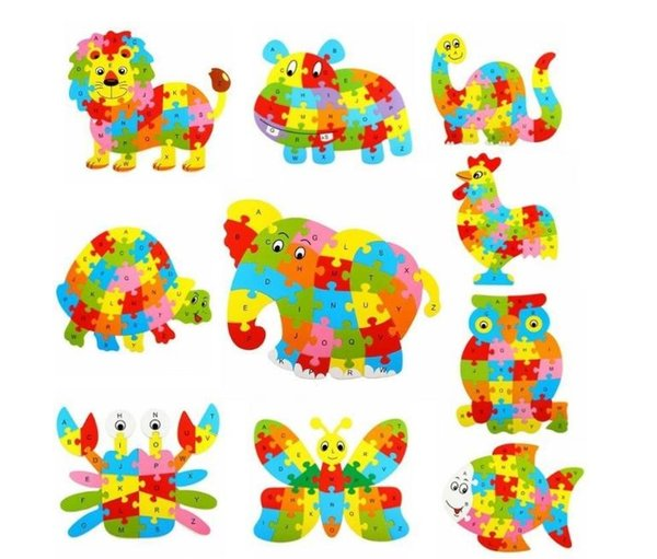 26 Muster Holz Tier Alphabet Früherziehung Puzzle Für Kinder baby Pädagogisches Lernen Intelligentes Spielzeug Block Puzzle
