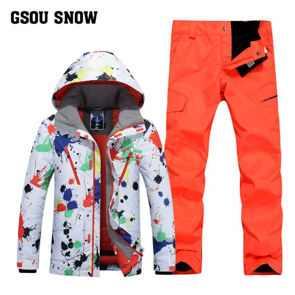 GSOU SNOW Ski Suit Men's Winter Outdoor Windproof Warm Ski Wear Waterproof Quick Drying Jacket+ Pants For Men