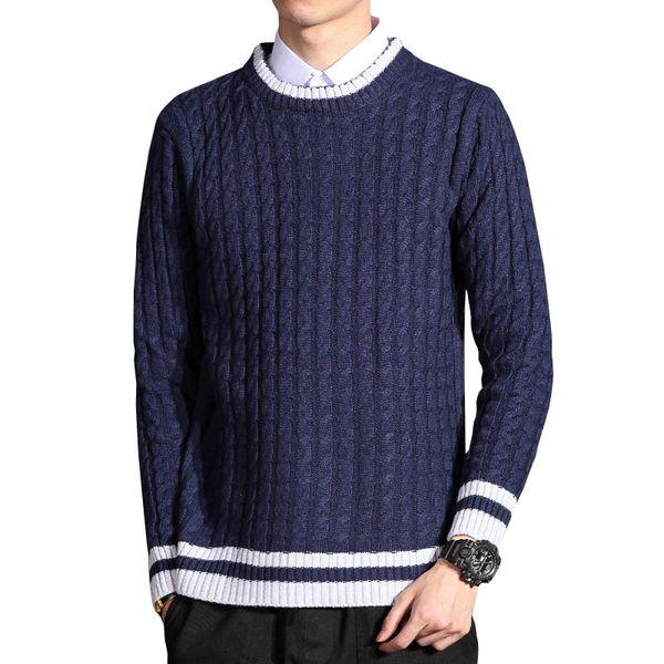High Quality Autumn Winter New Men's Christmas Sweater O-Neck Elastic Knitting Navy Black Pullover Men 5XL 6XL