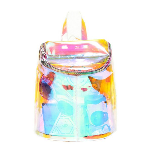 2016 Hot Colorful Shinning Clear Backpack Ttransparent School Bags For Teenagers PVC Rucksack Hip-Hop Leisure Travel Bag BP140