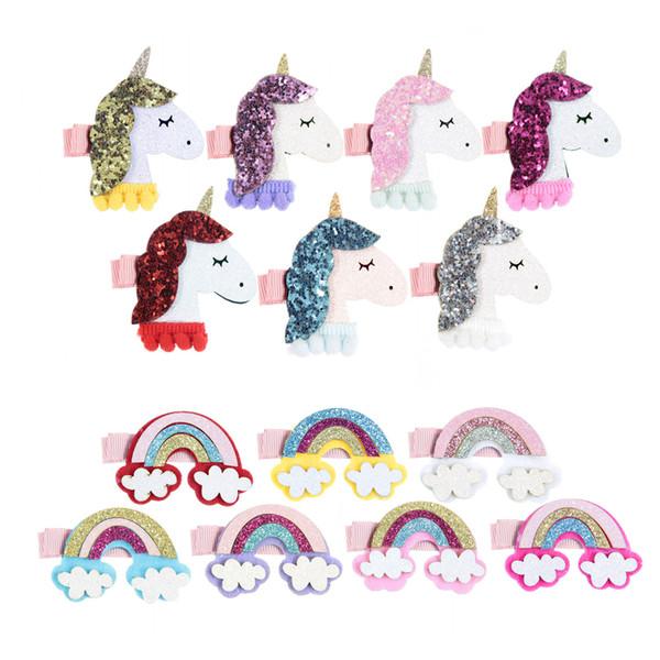 50pcs/lot Felt Unicorn Horns Rainbow Diy Accessories For Baby Girls Hair Clips Headband Birthday Gift Party Supplies
