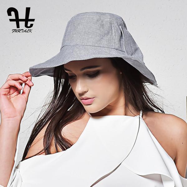 FURTALK Chapéus de Sol de Verão para As Mulheres Design de Moda Mulheres Chapéu De Algodão Praia Chapéu Dobrável Bucket Brimmed
