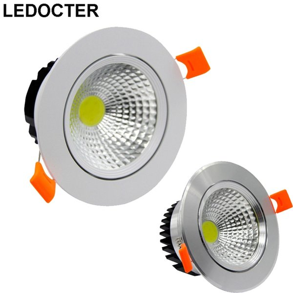 White /Silver CREE 9W 12W 15W 20W Dimmable COB LED Downlights+Driver Tiltable Fixture Recessed Ceiling Down Lights House Lamps