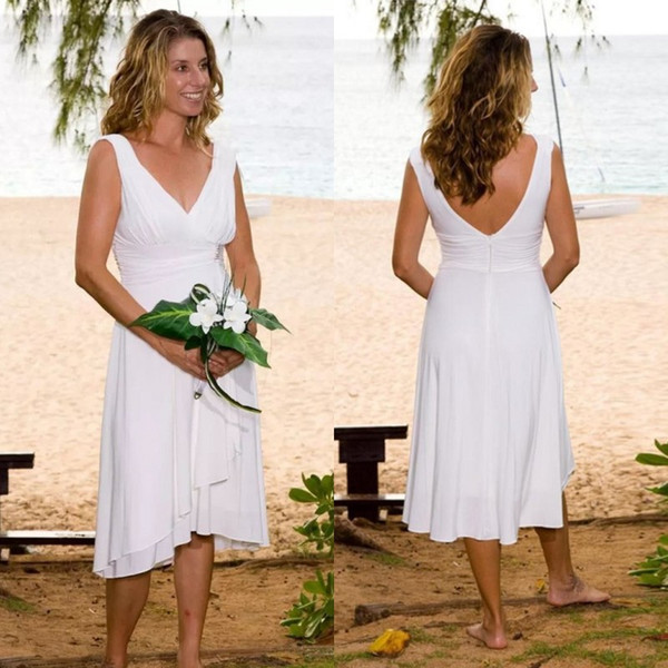 Spring 2019 Short Beach Wedding Dresses Cheap Simple Style V Neck A Line Tea-length White Chiffon Wedding Party Dresses for Women
