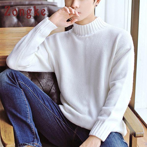 Zongke White Turtleneck Sweater Men Pullover Knitted Male Sweater Men Turtle Neck Mens Sweaters 2018 Man Winter Korean Clothing